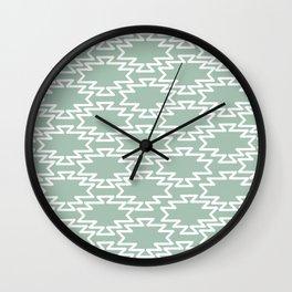 Southwest Azteca Geo Pattern in White and Light Spring Rain Celadon Green Wall Clock