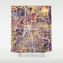 Kansas City Missouri City Map Shower Curtain