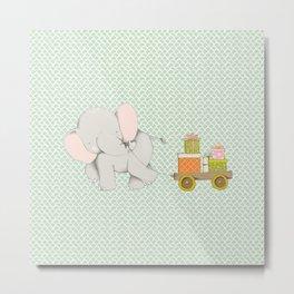 Christmas Elephant Metal Print