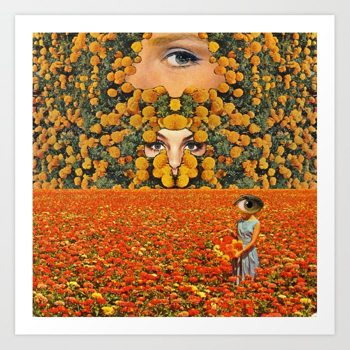 Eyes on flowers Art Print