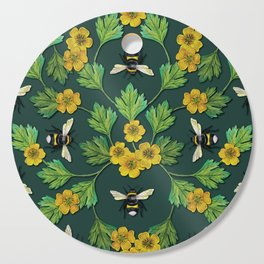 Bumblebees and Buttercups - Green & Yellow Floral/Botanical Pattern Cutting Board