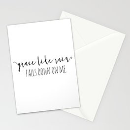 Amazing Grace Like Rain Falls Down On Me Christian Quote Stationery Cards