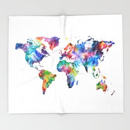 World Map Watercolor Painting Throw Blanket