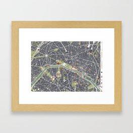Paris city map engraving Framed Art Print