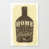 whiskey Canvas Prints featuring Whiskey by irosebot