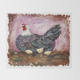 Blue Hen With Chicks Transparent Throw Blanket