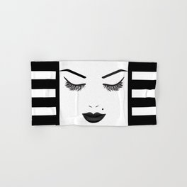 Black Lips Beauty Face Stripes Hand & Bath Towel