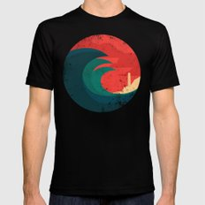 The wild ocean Black Mens Fitted Tee MEDIUM