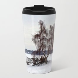 Weeping Willow on the Frozen Lake Travel Mug
