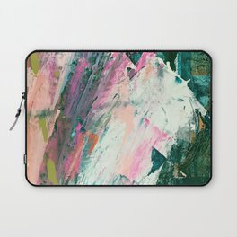 Meditate [2]: a vibrant, colorful abstract piece in bright green, teal, pink, orange, and white Laptop Sleeve