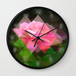 Pink Roses in Anzures 3 Art Triangles 1 Wall Clock