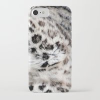 snow leopard iPhone & iPod Cases featuring Snow Leopard by Moody Muse
