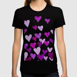 Valentine's Day Watercolor Hearts - purple T-shirt