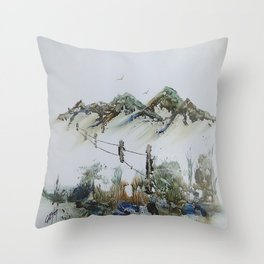 Sand Dunes and Rock Pools Throw Pillow