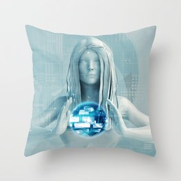 Lady Using Digital Solutions Technology Concept Art Throw Pillow