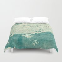 singapore Duvet Covers featuring Singapore Map Blue Vintage by City Art Posters