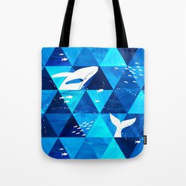 Blue Whale Jumping Tote Bag