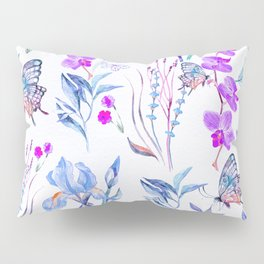 Modern purple blue watercolor hand painted orquid butterfly Pillow Sham