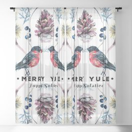 Merry Yule-Christmas bullfinch and Christmas foliage Sheer Curtain
