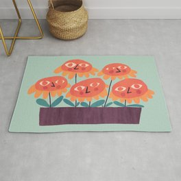 Flowers - the quirky little people Rug