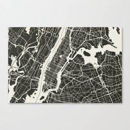 New York City Map_BLACK Canvas Print