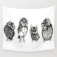 owls Wall Tapestries featuring OWLS by Acus