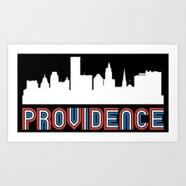 Red White Blue Providence Rhode Island Skyline Art Print
