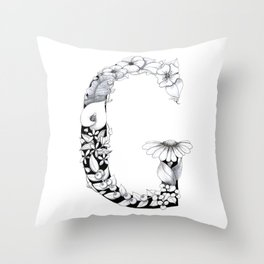 Floral Pen and Ink Letter G Throw Pillow