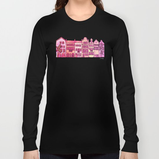 Tropical Homes – Pink Ombré Long Sleeve T-shirt