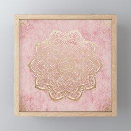 MOON DANCE MANDALA IN GOLD AND PINK Framed Mini Art Print