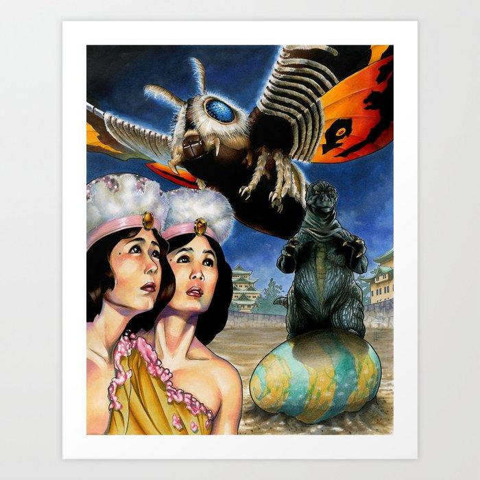 Mothra vs Godzilla Art Print