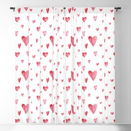 Watercolor print with hearts Blackout Curtain