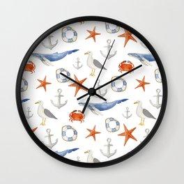 Watercolor nautical pattern Wall Clock