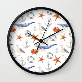 Watercolor nautical pattern Wall Clock