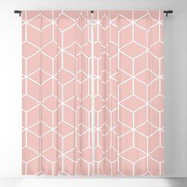 Cube Geometric 03 Pink Blackout Curtain