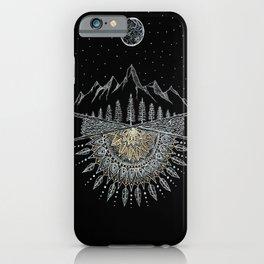 Moon and Stars Night Sky Mountain Range Arrow Mandala iPhone Case