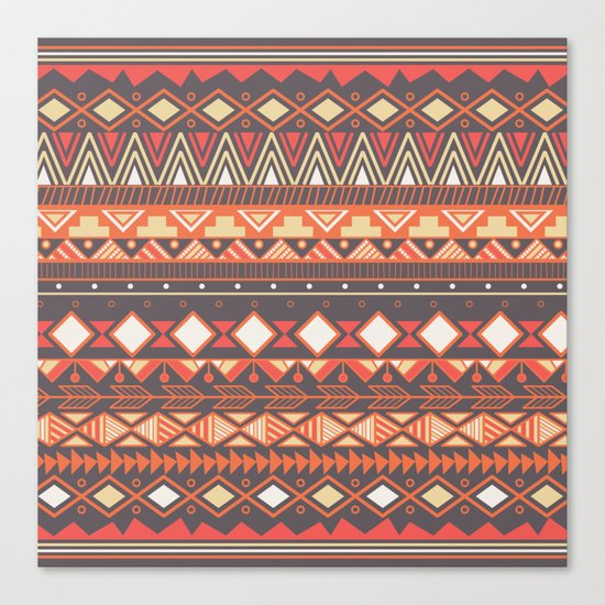 Aztec tribal pattern in stripes, vector illustration Canvas Print