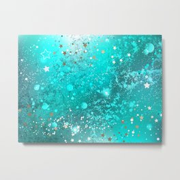 Turquoise Foil Background Metal Print