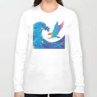 hokusai Long Sleeve T-shirts featuring Hokusai Rainbow & Eagle by FACTORIE
