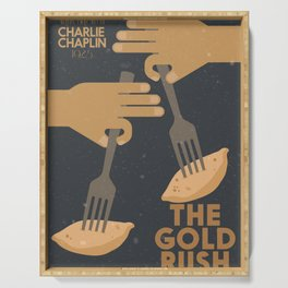 The gold rush, movie illustration, Charlie Chaplin film, vintage poster, Charlot, b&w cinema Serving Tray