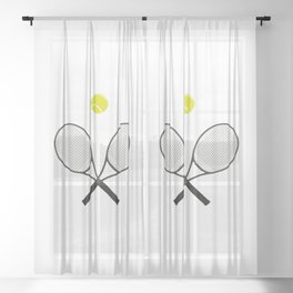 Tennis Racket And Ball 2 Sheer Curtain
