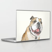 bulldog Laptop & iPad Skins featuring bulldog  by Laura Graves