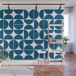 Mid Century Modern Geometric 04 Blue Wall Mural