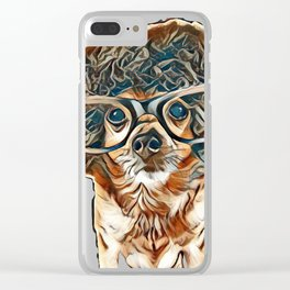 a chihuahua with an afro wig and glasses on        - Image Clear iPhone Case