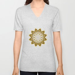 Abstract Flower in Gold Unisex V-Neck