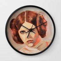 princess leia Wall Clocks featuring Princess Leia by Ashley Anderson