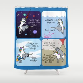 Not Quite Right (Horned Warrior Friends) Shower Curtain