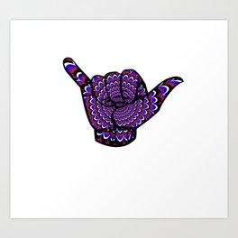 Hang Loose BJJ Shaka T-Shirt Psychedelic Jiu Jitsu Tee Art Print