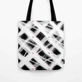 Dotted Grid with Brush Strokes Black Tote Bag