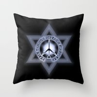 israel Throw Pillows featuring Israel Peace Symbol - 032 by Lazy Bones Studios